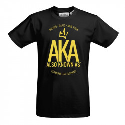 fa05f9e75c2 T Shirt homme noir jaune-AKA The One - Also Known As
