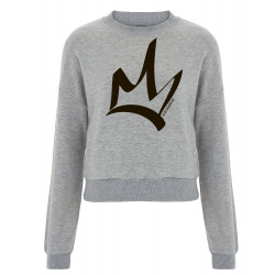 Sweat femme court heather grey - The Queen Noir