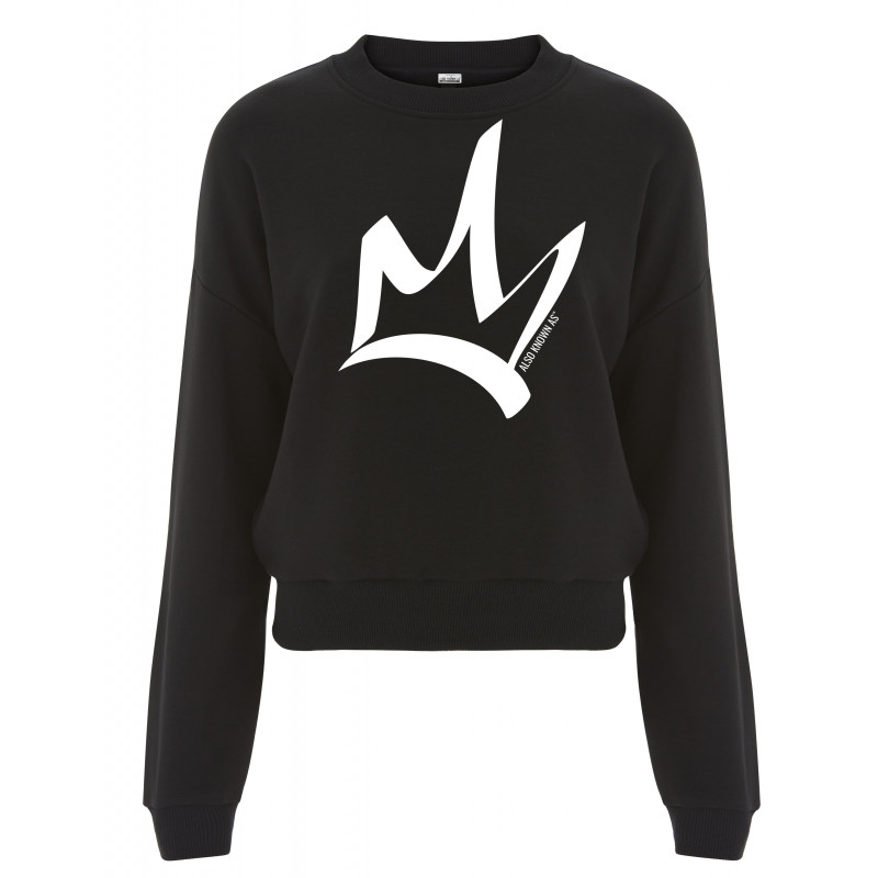 Sweat femme court noir  - The Queen Blanc
