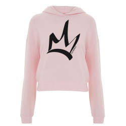 Sweat à capuche court femme light pink  - The Queen noir
