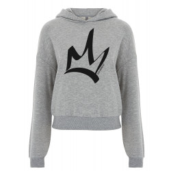 Sweat à capuche court femme heather grey - The Queen Noir