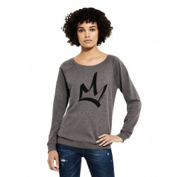 Sweat femme manches raglan Dark Heather - The Queen Noir